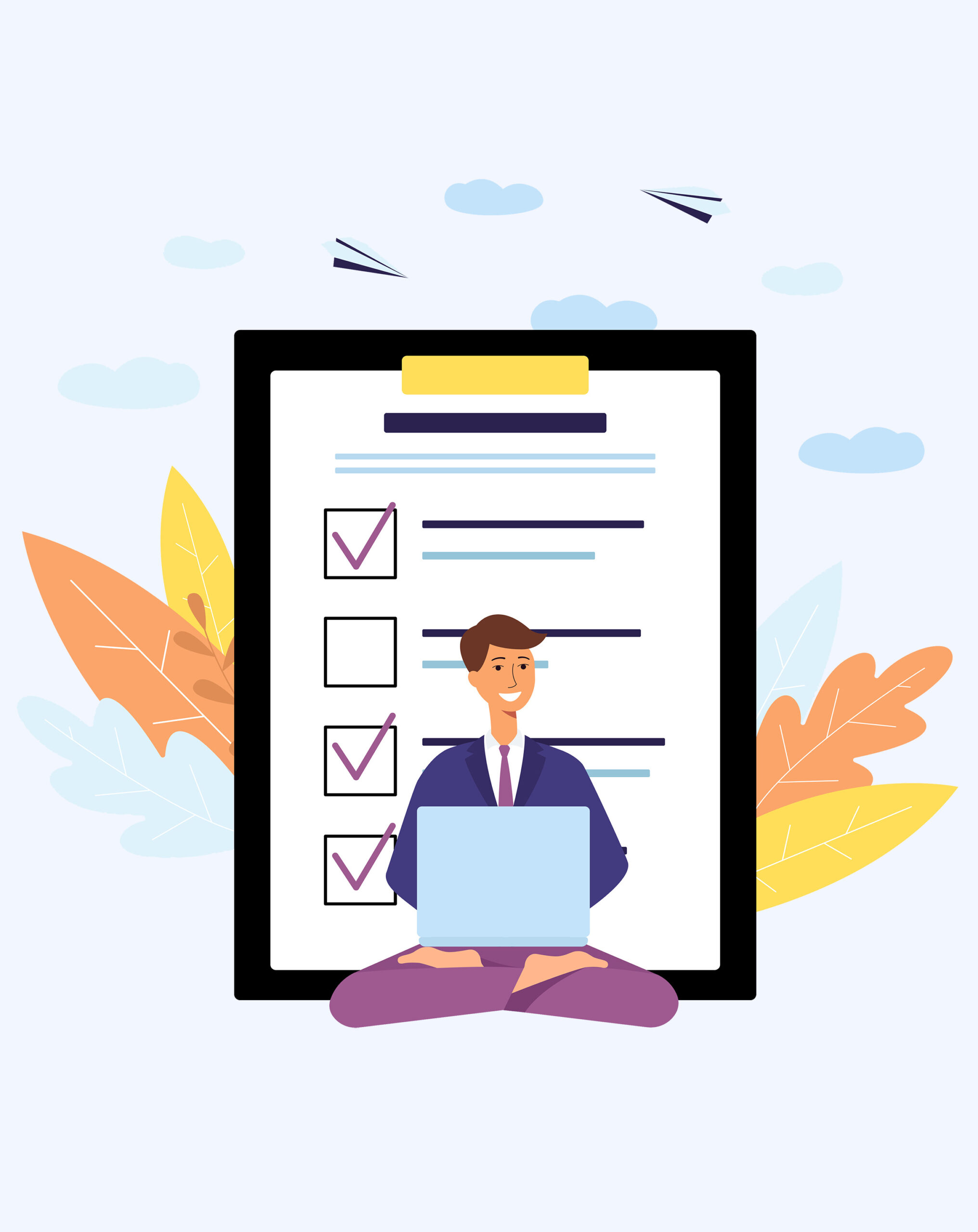 A man sits at a laptop in a yoga pose next to the questionnaire. Online form of survey and poll, check and test concept with paper list and document on background. Flat isolated vector illustration.